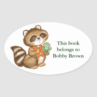 Baby Raccoon in Orange Vest with Best Friend Frog Oval Sticker