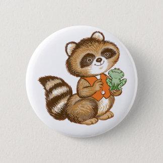 Baby Raccoon in Orange Vest with Best Friend Frog Pinback Button