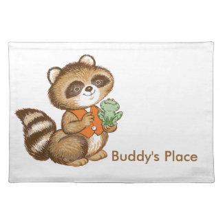 Baby Raccoon in Orange Vest with Best Friend Frog Placemat