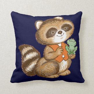 Baby Raccoon in Orange Vest with Green Frog Friend Pillow