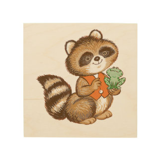 Baby Raccoon in Orange Vest with Green Frog Friend Wood Wall Decor