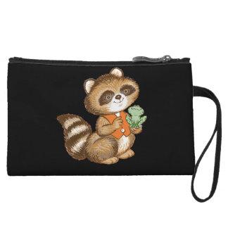 Baby Raccoon in Orange Vest with Green Frog Friend Wristlet Purses