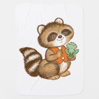 Baby Raccoon in Orange Vest with Green Frog Friend Baby Blankets