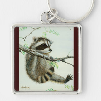 Baby Raccoon & Texas Mesquite Tree Silver-Colored Square Keychain