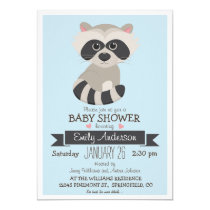 Baby Raccoon, Woodland Baby Shower or Sprinkle Invitation