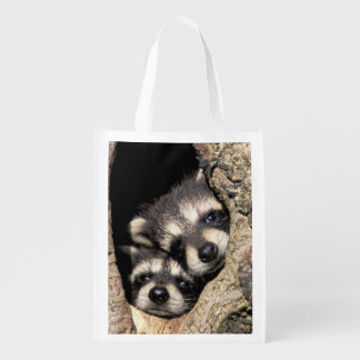 Baby raccoons in tree cavity Procyon Reusable Grocery Bag