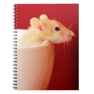 Baby rat in teacup. spiral notebook