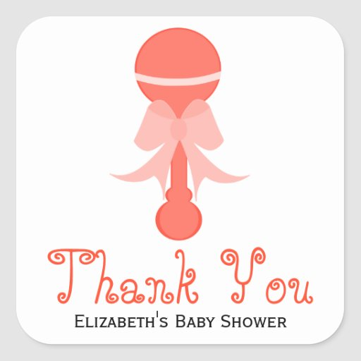 Baby Shower Favors Rattles ~ Baby rattle coral shower favor stickers zazzle