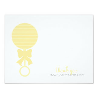 Baby Rattle Flat Thank You 4.25x5.5 Paper Invitation Card
