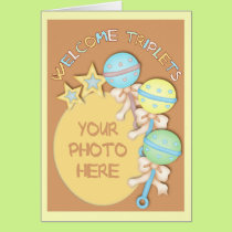 Baby Rattles Triplets Photo Template