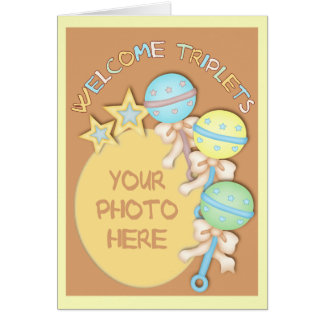 Baby Rattles Triplets Photo Template Card