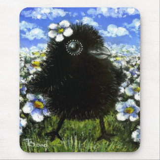 Baby raven and daisies mouse pad