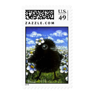 Baby raven and daisies postage stamps