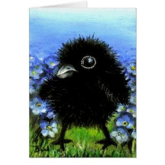 Baby raven greeting card