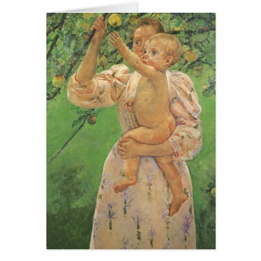 Baby Reaching for an Apple by Mary Cassatt Card
