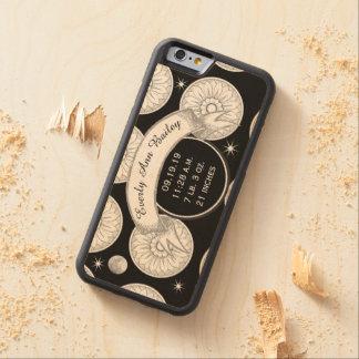 Baby Record Keepsake Moon Stars Medallion Pattern Carved® Maple iPhone 6 Bumper