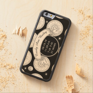 Baby Record Keepsake Moon Stars Medallion Pattern Carved® Maple iPhone 6 Bumper Case