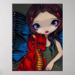 Baby Red Dragon dragonling fairy Art Print