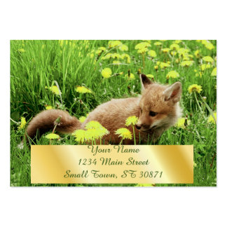 Baby Red Fox in Green Field With Yellow Flowers Large Business Cards (Pack Of 100)