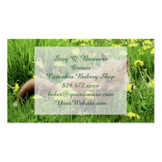 Baby Red Fox in Green Field With Yellow Flowers Double-Sided Standard Business Cards (Pack Of 100)