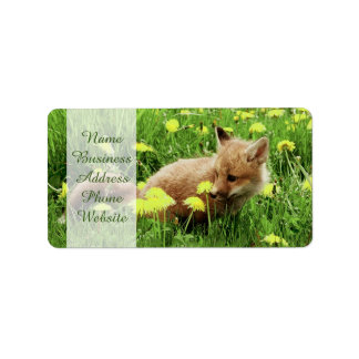 Baby Red Fox in Green Field With Yellow Flowers Label