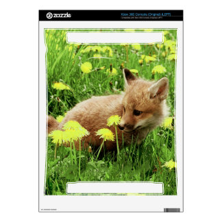 Baby Red Fox in Green Field With Yellow Flowers Decals For Xbox 360