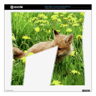 Baby Red Fox in Green Field With Yellow Flowers Xbox 360 S Decals