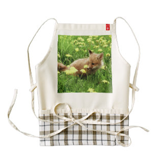 Baby Red Fox in Green Field With Yellow Flowers Zazzle HEART Apron