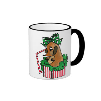 Baby Reindeer (or puppy) Holiday Gift Ringer Mug