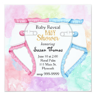 Baby Reveal Baby Shower Invitation with Diaper