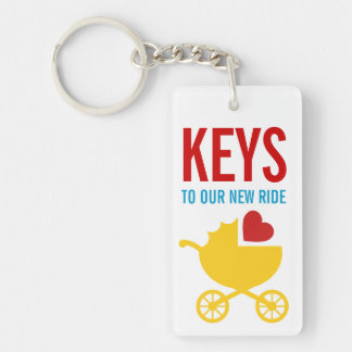 Baby Reveal Gender Neutral Surprise Gift Single-Sided Rectangular Acrylic Keychain