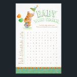 """Baby rhino baby shower word search flyer<br><div class=""""desc"""">Word search baby shower game. Your guests will have lots of fun trying to search and find these common baby related words using the word key, ideal to offer a prize to the fastest guest who complete it. Part of the circus animals watercolor baby shower collection. &#169; Unique rhinoceros watercolor...</div>"""