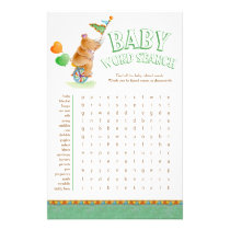 Baby rhino baby shower word search flyer