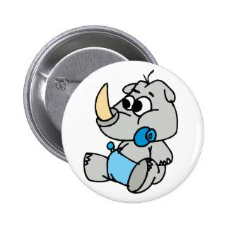 Baby Rhino Pinback Button