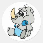 Baby Rhino Round Stickers
