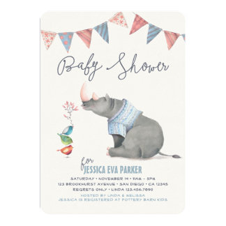 Baby Rhinoceros & Birdies Painted Boy Baby Shower Card