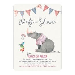 Baby Rhinoceros & Birdies Painted Girl Baby Shower Card