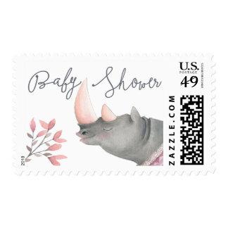Baby Rhinoceros & Birdies Painted Girl Baby Shower Postage