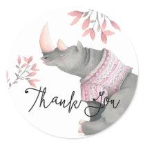 Baby Rhinoceros & Birdies Painted Thank You Classic Round Sticker
