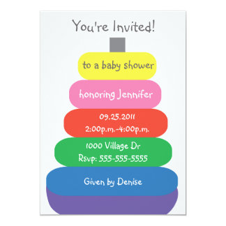 Baby Rings Multicolor Toy Baby Shower Invitation