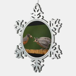 Baby Robin Snowflake Pewter Christmas Ornament