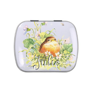Baby Robin & Violets Candy Tin