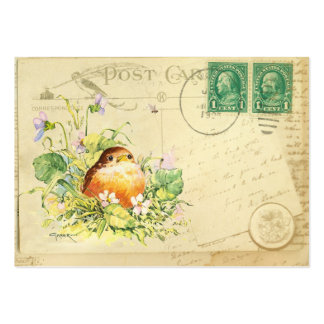 Baby Robin with Violets Business Cards