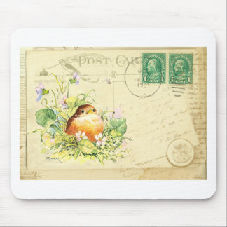 Baby Robin with Violets Mouse Pad