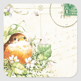 Baby Robin with Violets Square Sticker