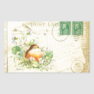 Baby Robin with Violets Rectangular Stickers