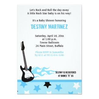 "Baby Rock Star (Blue) Baby Shower Invitation 4.5"" X 6.25"" Invitation Card"