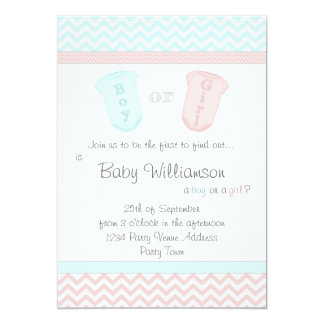 """Baby Romper Suits Gender Reveal Party Invitations 5"""" X 7"""" Invitation Card"""