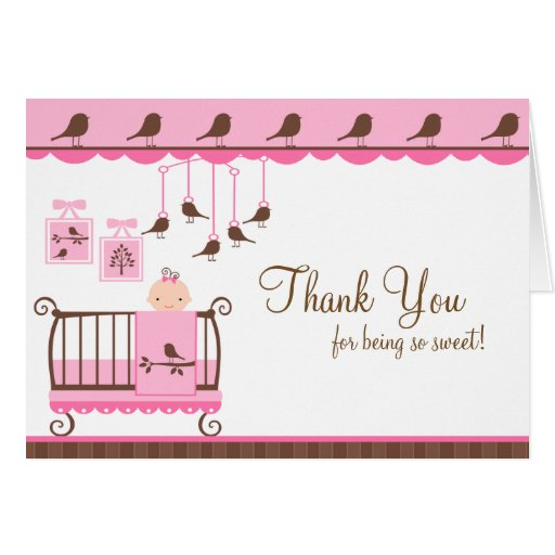 Baby Room Pink Thank You Note Card