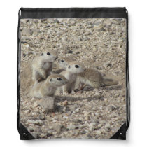 Baby Round-tailed Ground Squirrel Family Drawstring Bag